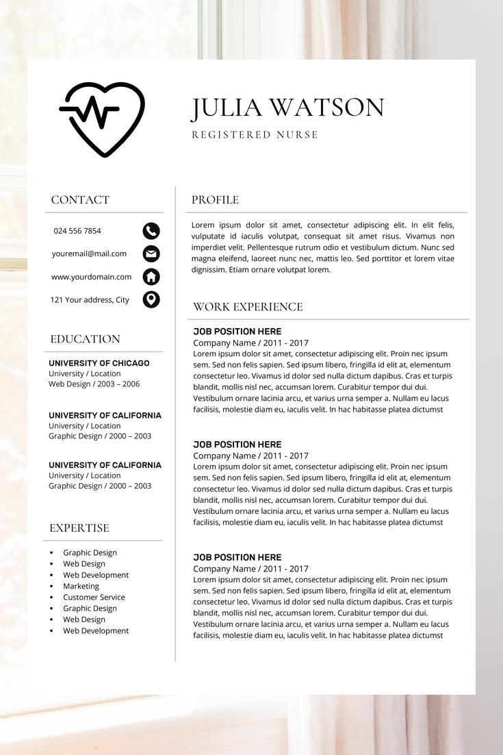 Professional Resume Template Nurse Cv Template Word Resume Etsy Cv Template Word Medical Resume Template Resume Template