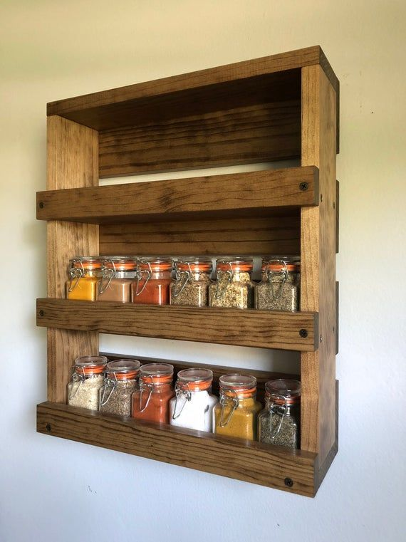 Wall Mounted Spice Rack Gift Item For Her Kitchen Spice Etsy In 2020 Wooden Spice Rack Kitchen Organization Diy Wall Mounted Spice Rack