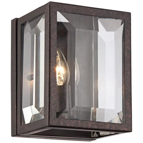 Beveled glass panes bring subtle dimension to this dust bronze finish small wall sconce.