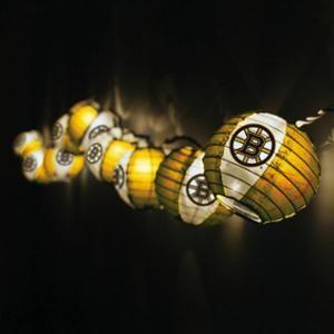 Set Of 10 NHL Boston Bruins Hockey Paper Lantern Patio Lights   White Wire