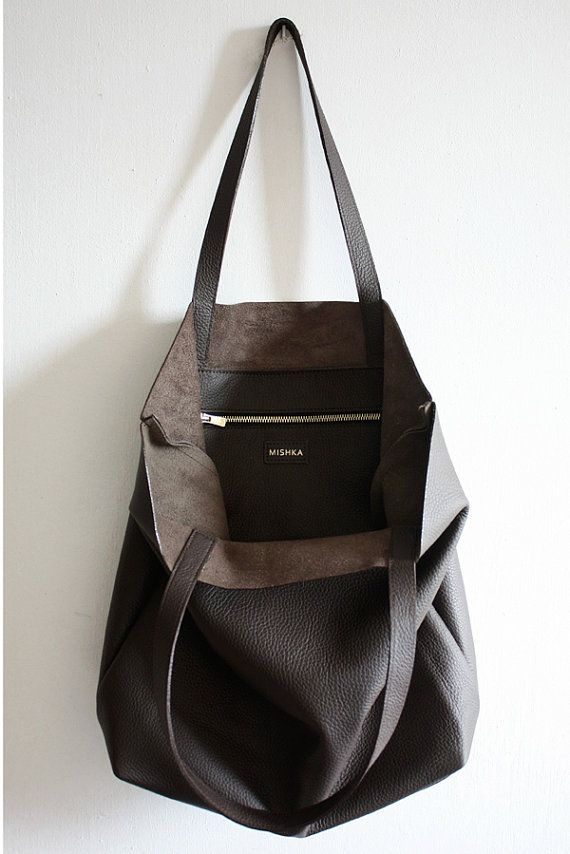 444db60e48d17 DOMI - Everyday Basic Large Chocolate Brown Leather Tote Bag ...