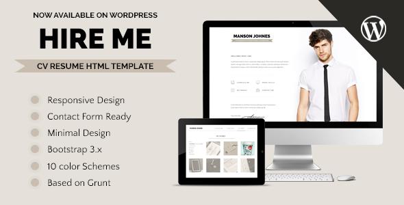 Hireme Responsive Resume WordPress Theme Wordpress Template and