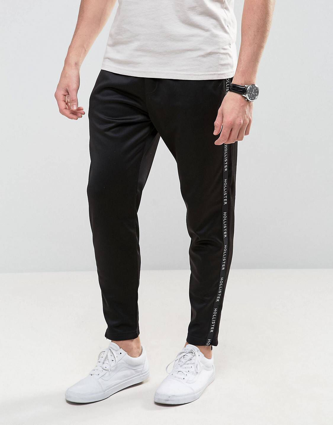 Shop Hollister Tricot Slim Joggers with Side Logo in Black at ASOS.