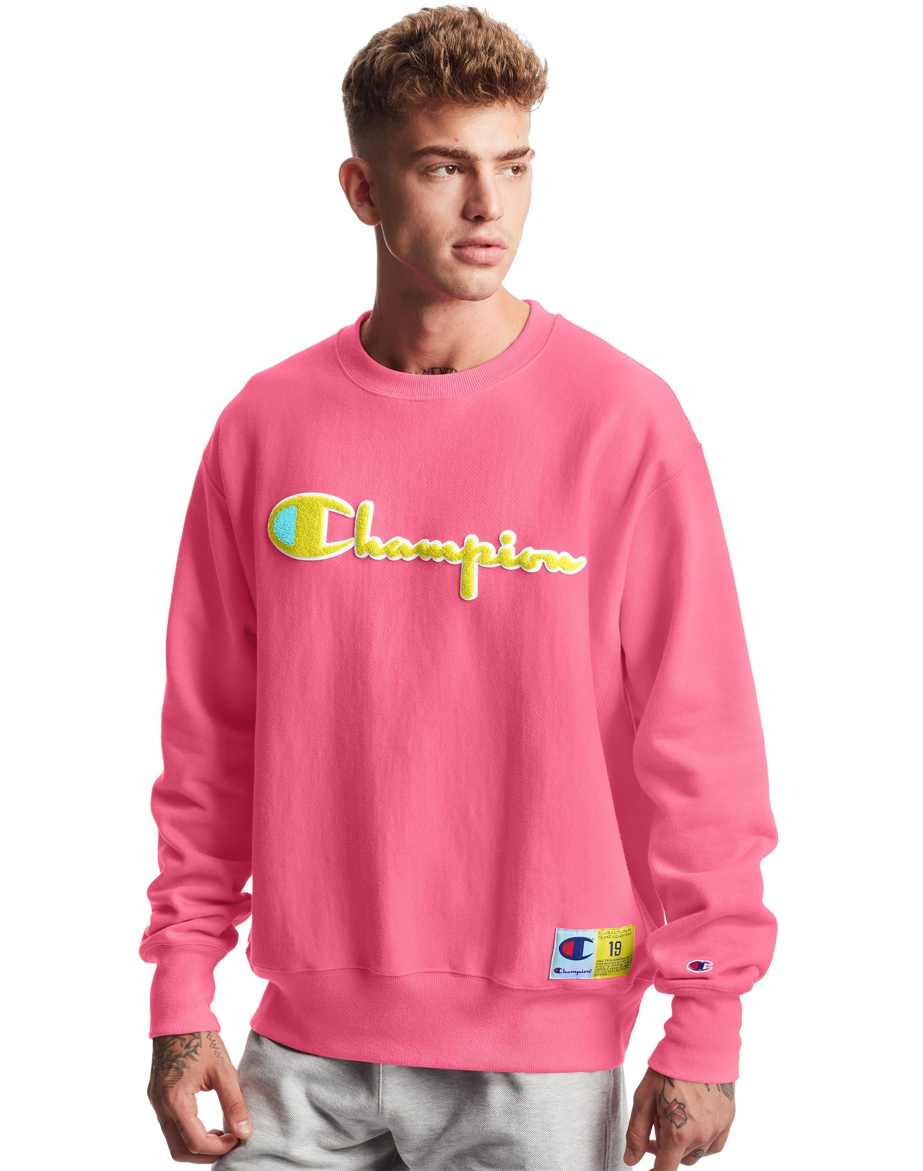 Predownload: Men S Champion Life Reverse Weave Crew Chenille Logo Reef Pink Mens Sweatshirts Hoodie Mens Trendy Outfits Mens Sweatshirts [ 2410 x 1900 Pixel ]
