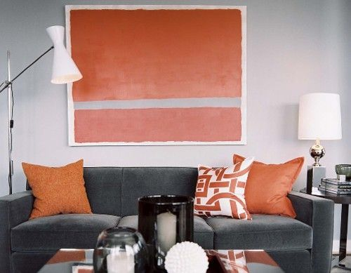 Orange accents in navy/cream room | Navy & Cream | Pinterest | Gray ...