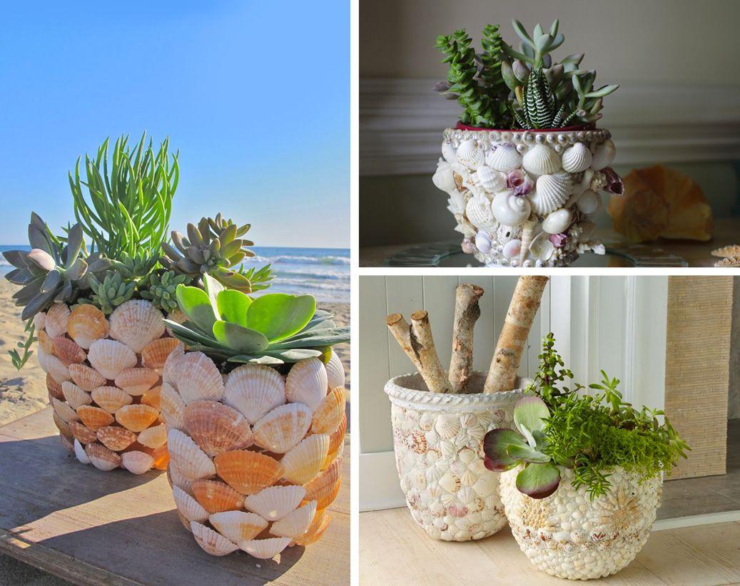 Decorazione con le conchiglie vaso per piante creazioni for Decorazioni con conchiglie