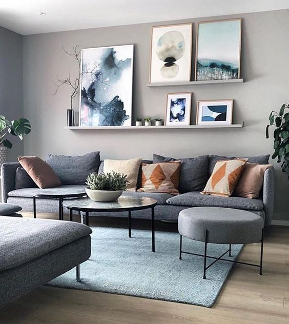 Modern living room wall art gray sofa Scandinavian design blue carpet plan  #Decoration #homedecor #homedesign #homeideas