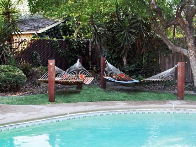 Diy hammock stands piscines hamacs et ext rieur for Pole house piscine