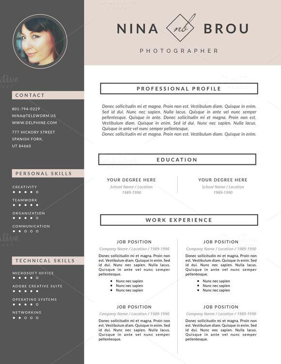 Feminine Resume Design CV - Resumes - 4 Resumes❇ Pinterest - examples of cv resumes