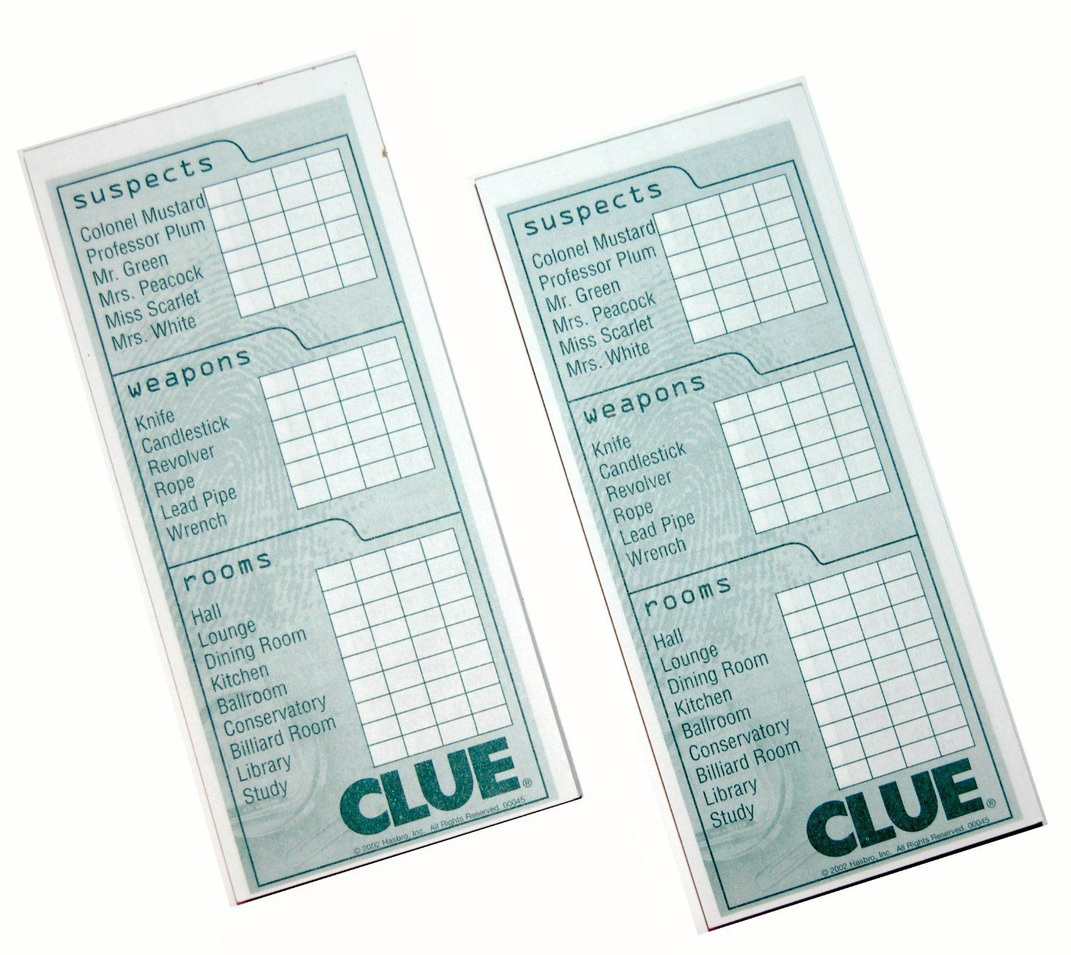 Clue Game Sheets Amazon.com: 2 Classic ...