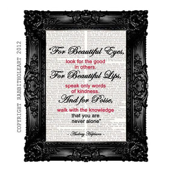 Audrey Hepburn QUOTE Typography Art Print On By