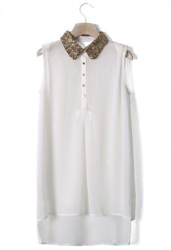 witte glitter blouse