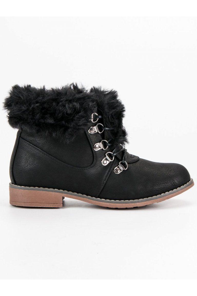 edcc026f52 Čierne topánky s kožušinou Queentina