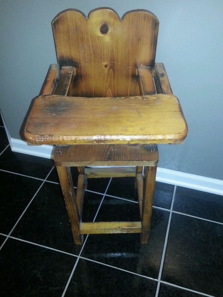Vintage Wood High Chair   Baby Doll Boy Girl Toy   EUC