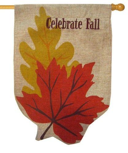 Burlap Fall Leaves Decorative House Flag