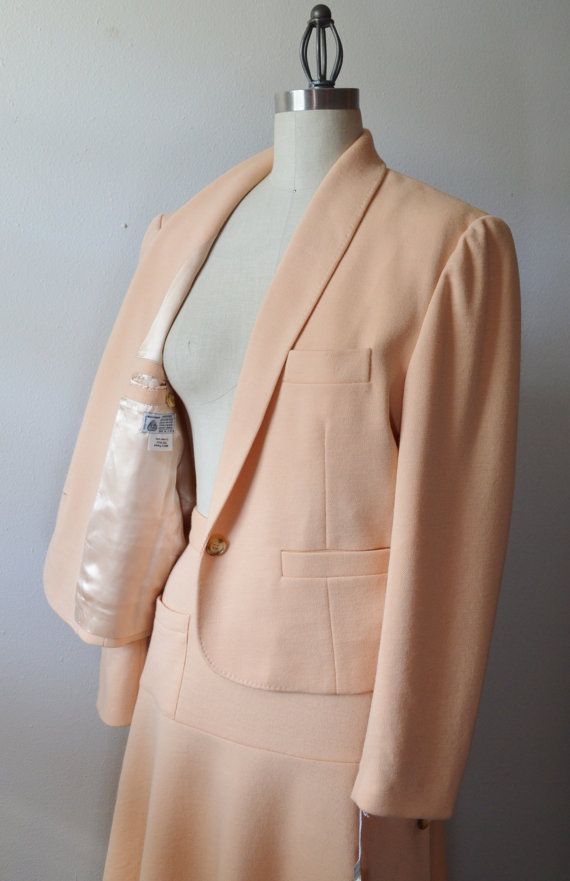 f933ac9af8 Vintage Sonia Rykiel Suit 1980s Summer Weight Wool Knit Suit in Peachy Pink  Fab Skirt with Buttons and Matching Jacket Size Medium