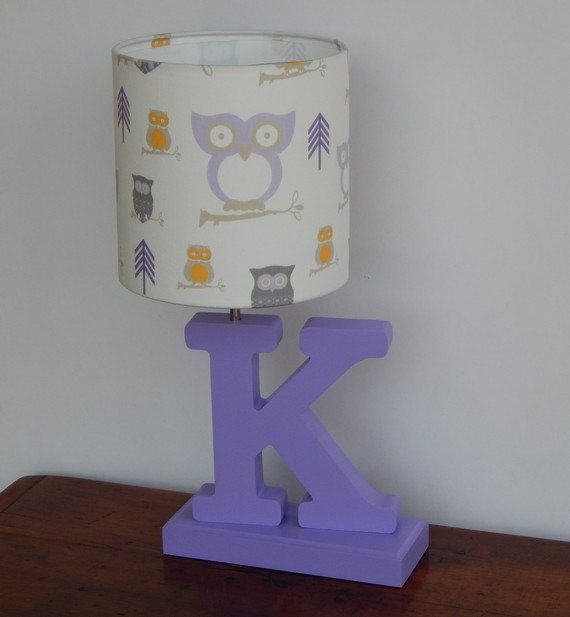Handmade White And Lilac Purple Owl Lamp Shade Great For Nursery Or Kid S Room