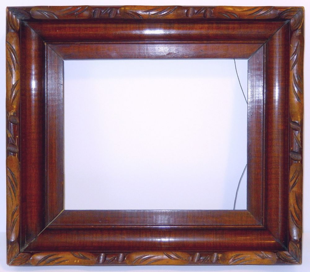 Antique Carved Wood Picture Frame Ornate High Profile 19th Century Artscraftsmissionstyle Handmade Picture Frames Wood Picture Frames Vintage Picture Frames