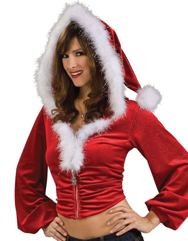 Fashion Women Santa Christmas Costume Fancy Dress Xmas Cosplay Hoodie Tops Coat