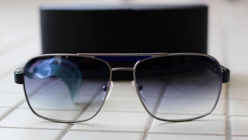 fda5b906abda3 Details about RARE Polarized PRADA Mens Metal Frame Matte Black ...