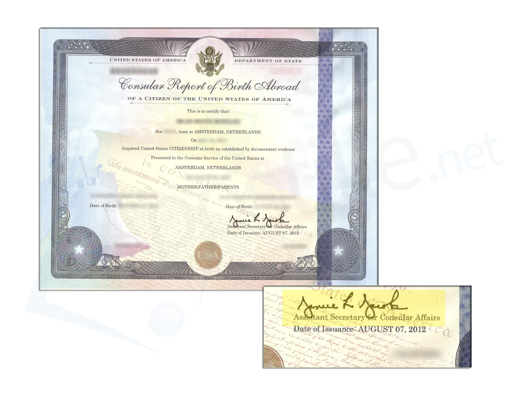 Consular Report Of Birth Certificate Signed By Assistant Secretary
