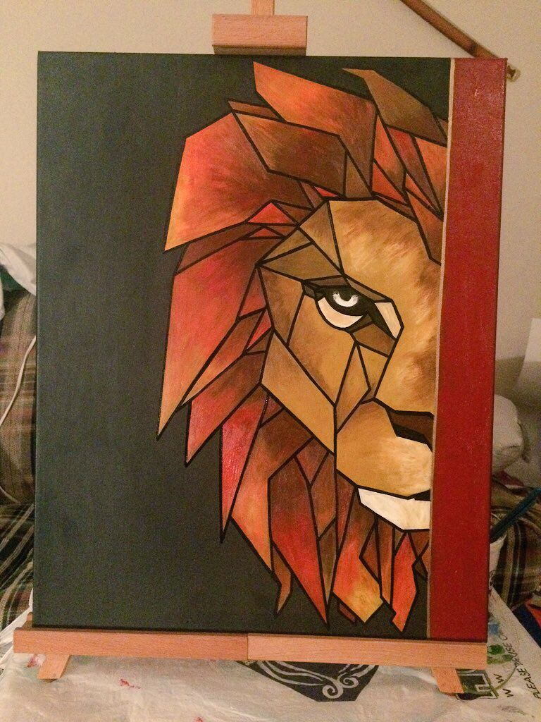 Lion canvas painting painting pinterest lions Diy canvas painting designs