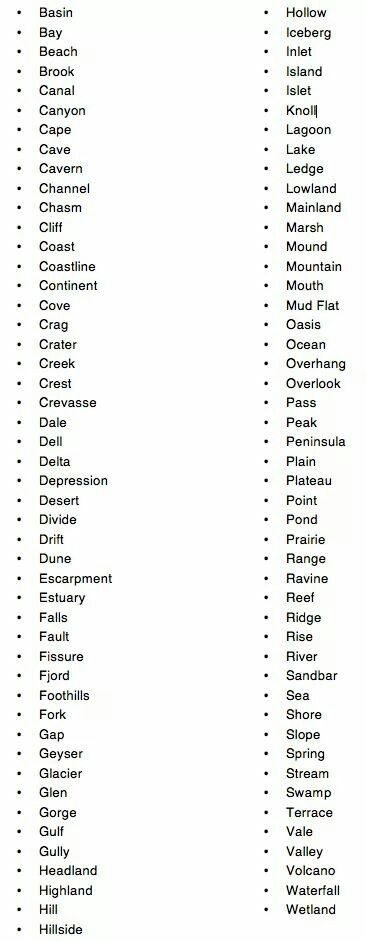 A variety of words to use when describing land and