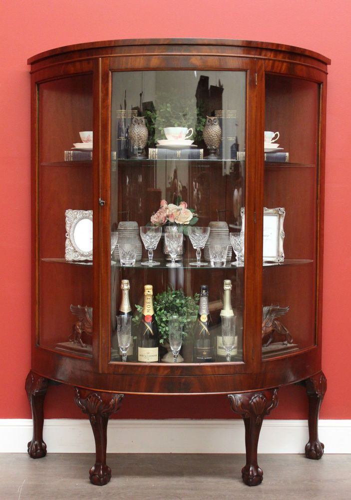 Antique English Mahogany and Glass Shelf Curved Fronted China ...