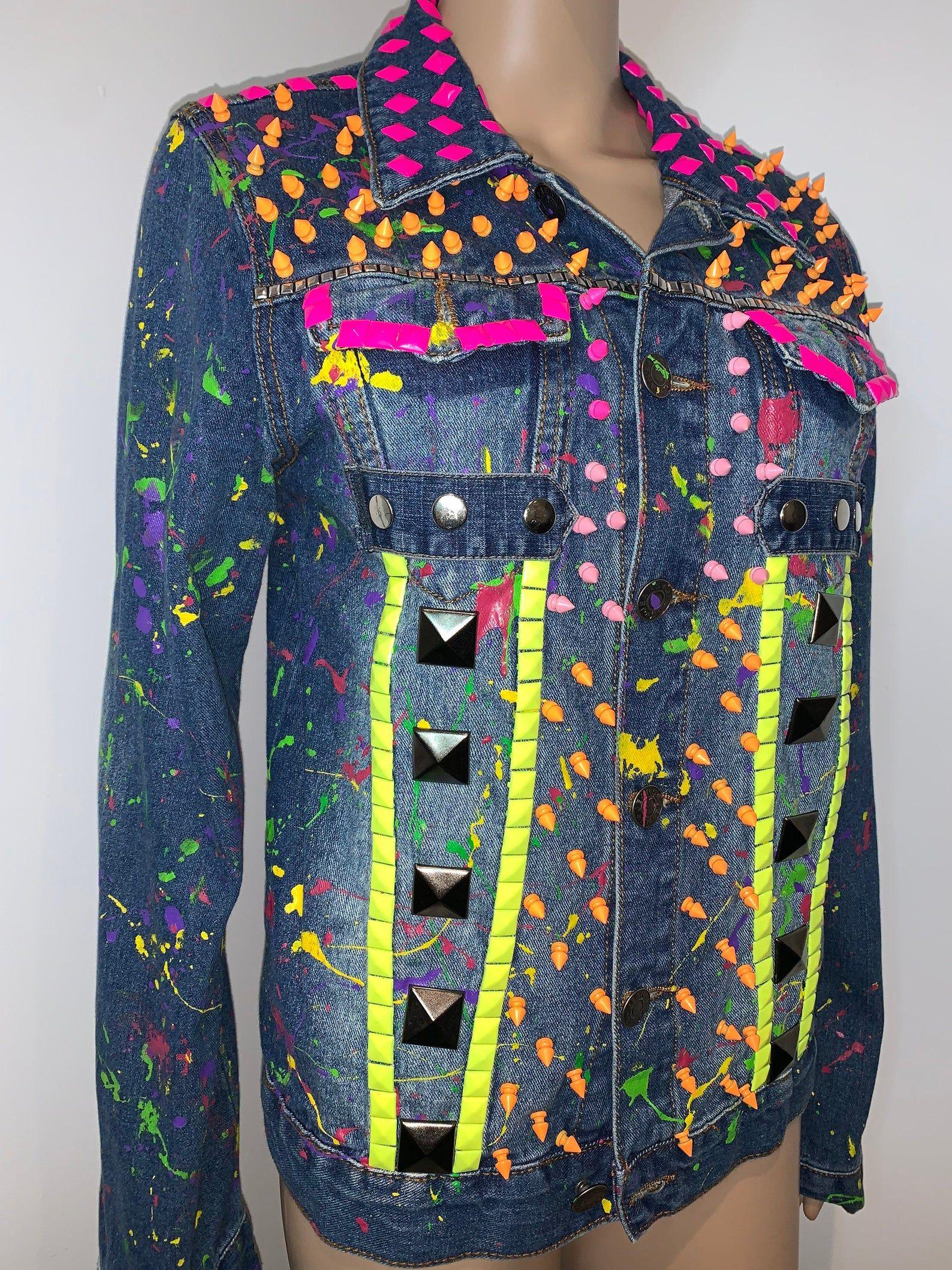 One Of A Kind Psychedelic Punk Neon Paint Splatter Sustainable Etsy Painted Denim Jacket Vintage Denim Jacket Fashion [ 2117 x 1588 Pixel ]