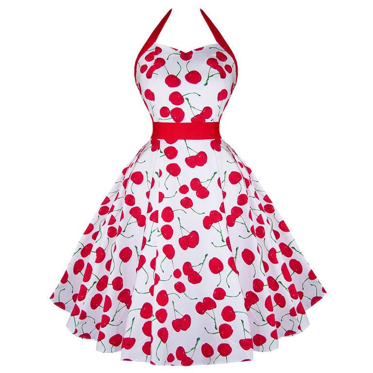 H&R Klänning Retro 50 tal rockabilly Cherry halter dress white | I ...