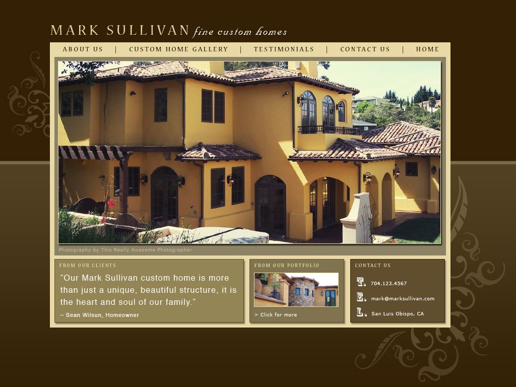 Final web design proof - home page for Mark Sullivan Homes. If pinning, please credit © the-summerhouse.com