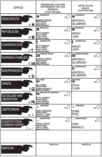 New York ballot - 2012 presidential election