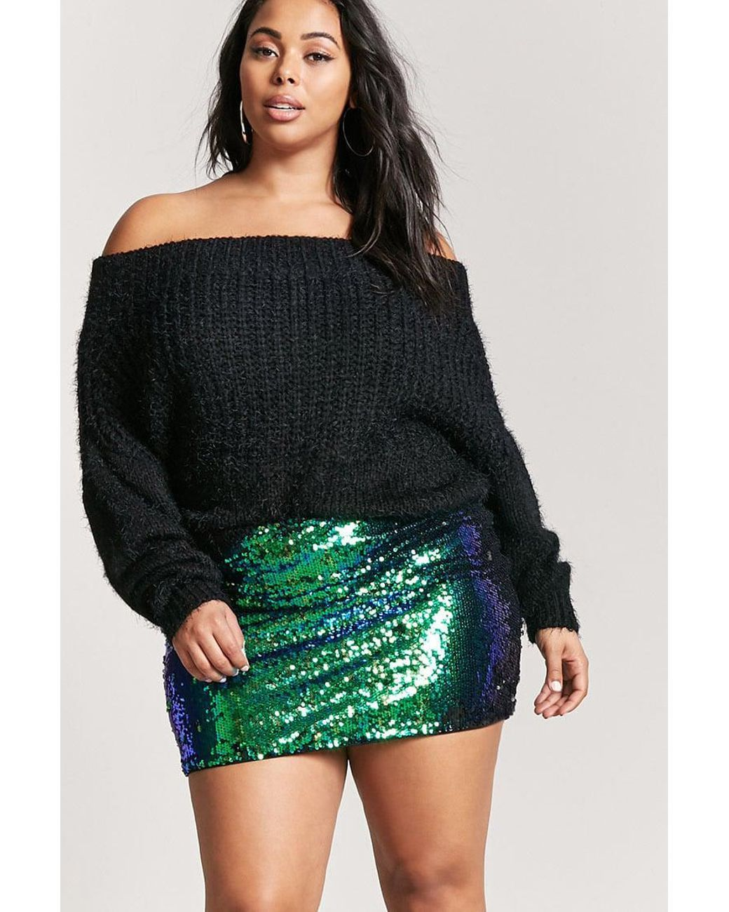 3f6afd7b Forever 21 | Green Plus Size Iridescent Sequin Mini Skirt | Lyst ...