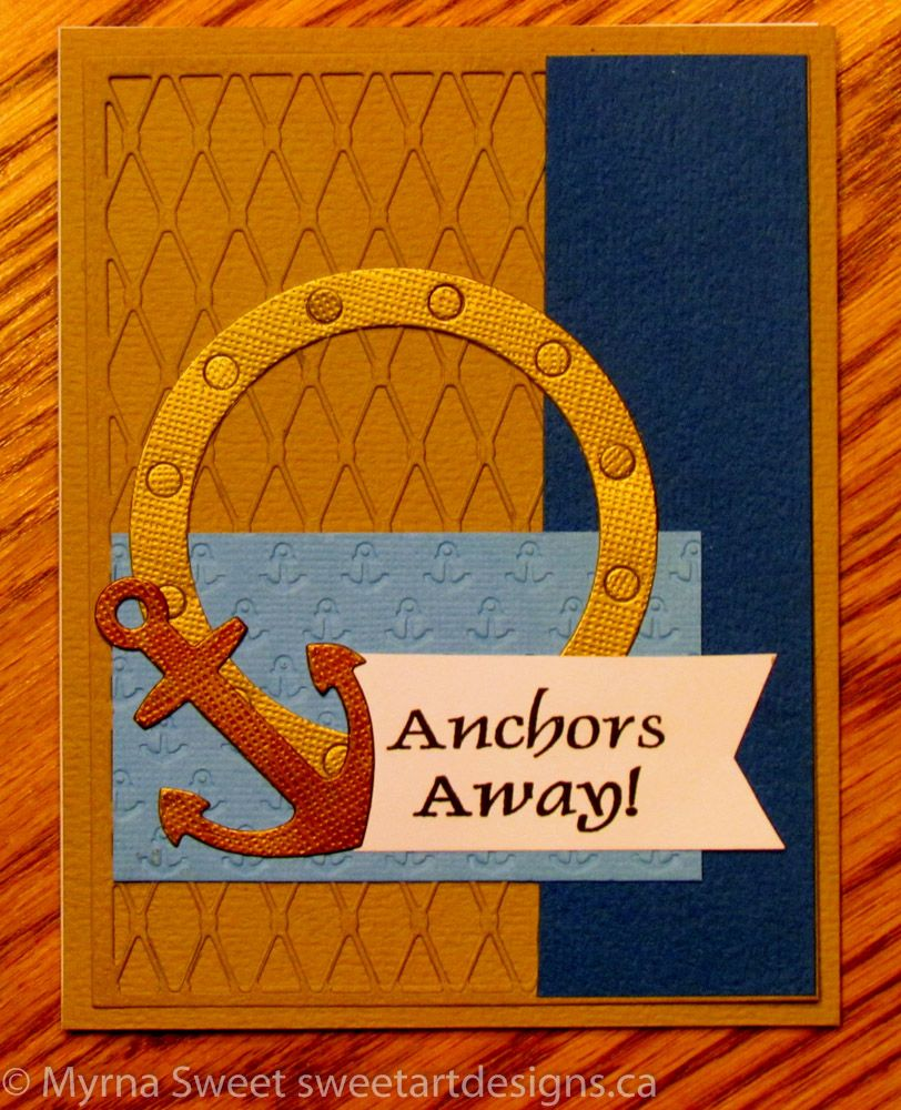 I used MFT – Fishnet Cover-up, Let's get nautical die, and a sentiment from JustRite – Anchor's Away stamp set.