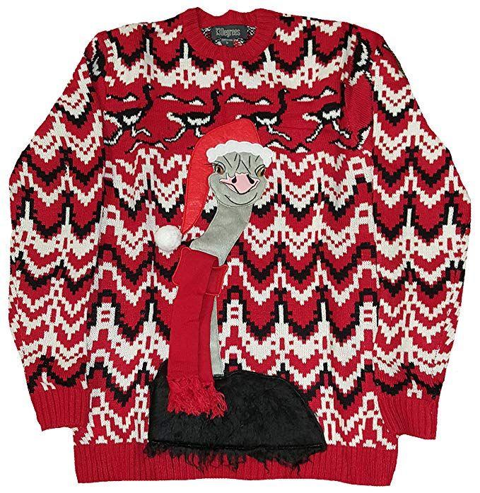 d238b5fd10df Christmas Ostrich Red Pullover Sweater - Medium