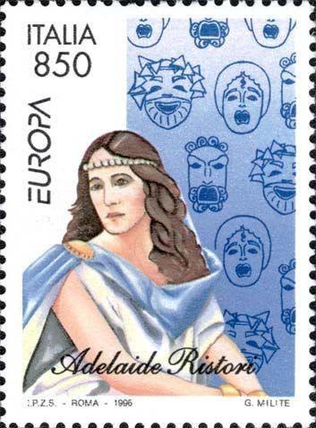 """1996 - """"Europa Unita"""":  Donne famose: l'attrice Adelaide Ristori (1822 - 1906) molto applaudita, nota per i suoi sentimenti patriottici, dal palcoscenico lanciava slogan a favore dell'Italia e di Vittorio Emanuele II."""