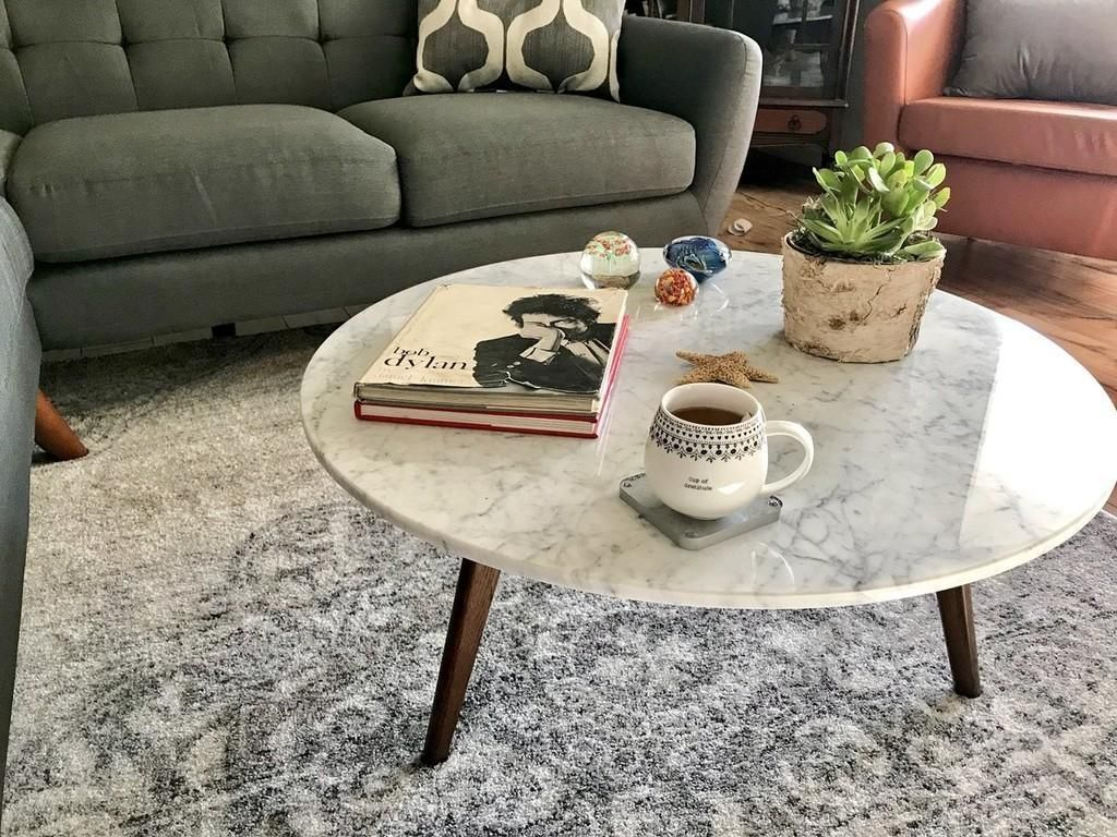 mara walnut coffee table marble round