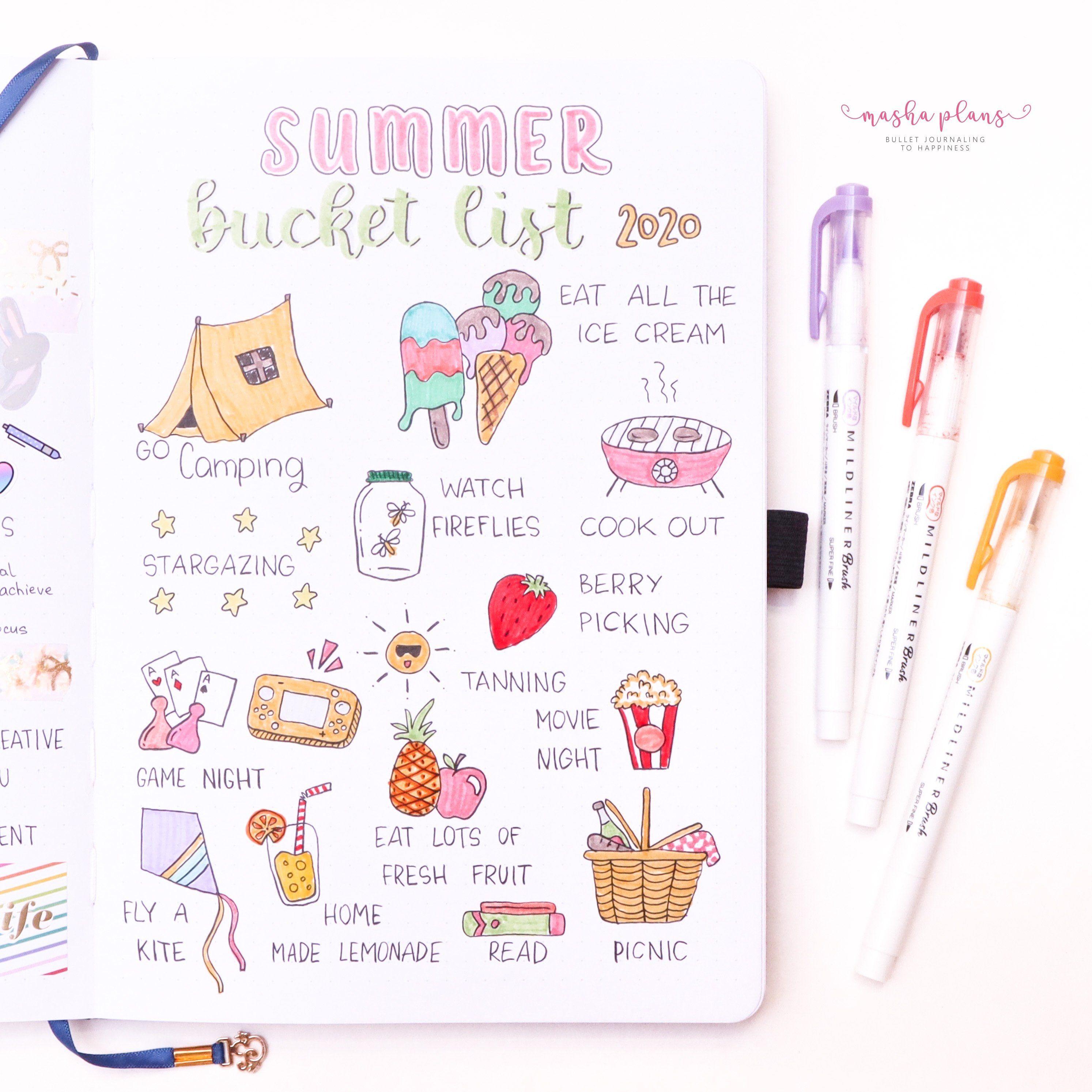 20 Summer Bullet Journal ideas in 20   bullet journal, bullet ...