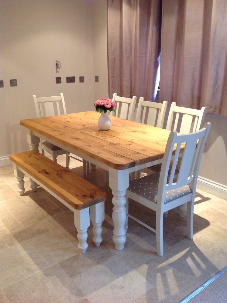 Rustic Farmhouse Shabby Chic Solid 8 Seater Dining Table