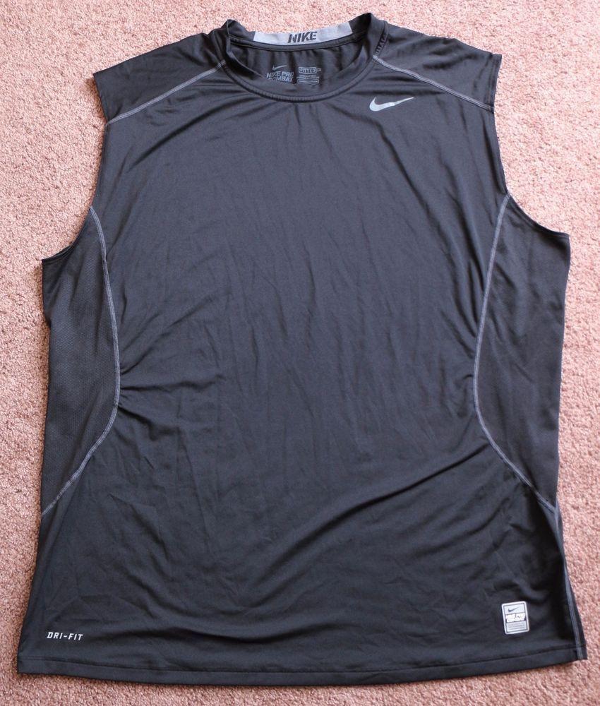 0b28e752fdc550 Mens NIKE Pro Combat Fitted Sleeveless Shirt Black XXL 2XL Athletic Workout   Nike  ShirtsTops