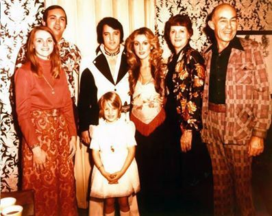 Elvis and Linda Thompson and Lisa Marie with Sam Thompson and wife (left)