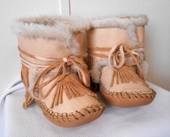 5403a98ac Handmade Moccasin Boots Fur Lined Ankle Boot by FaeMoonWolfDesigns ...