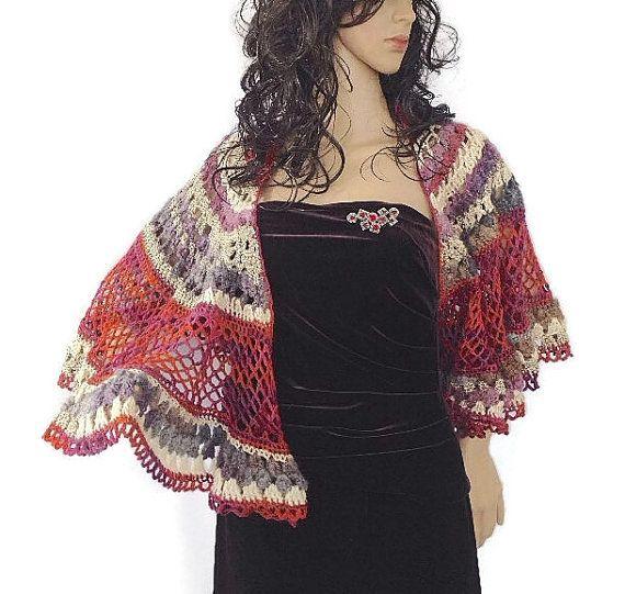 Outlander Scottish Red Cape Shawl Capelet Purple Gray Cream Lace ...