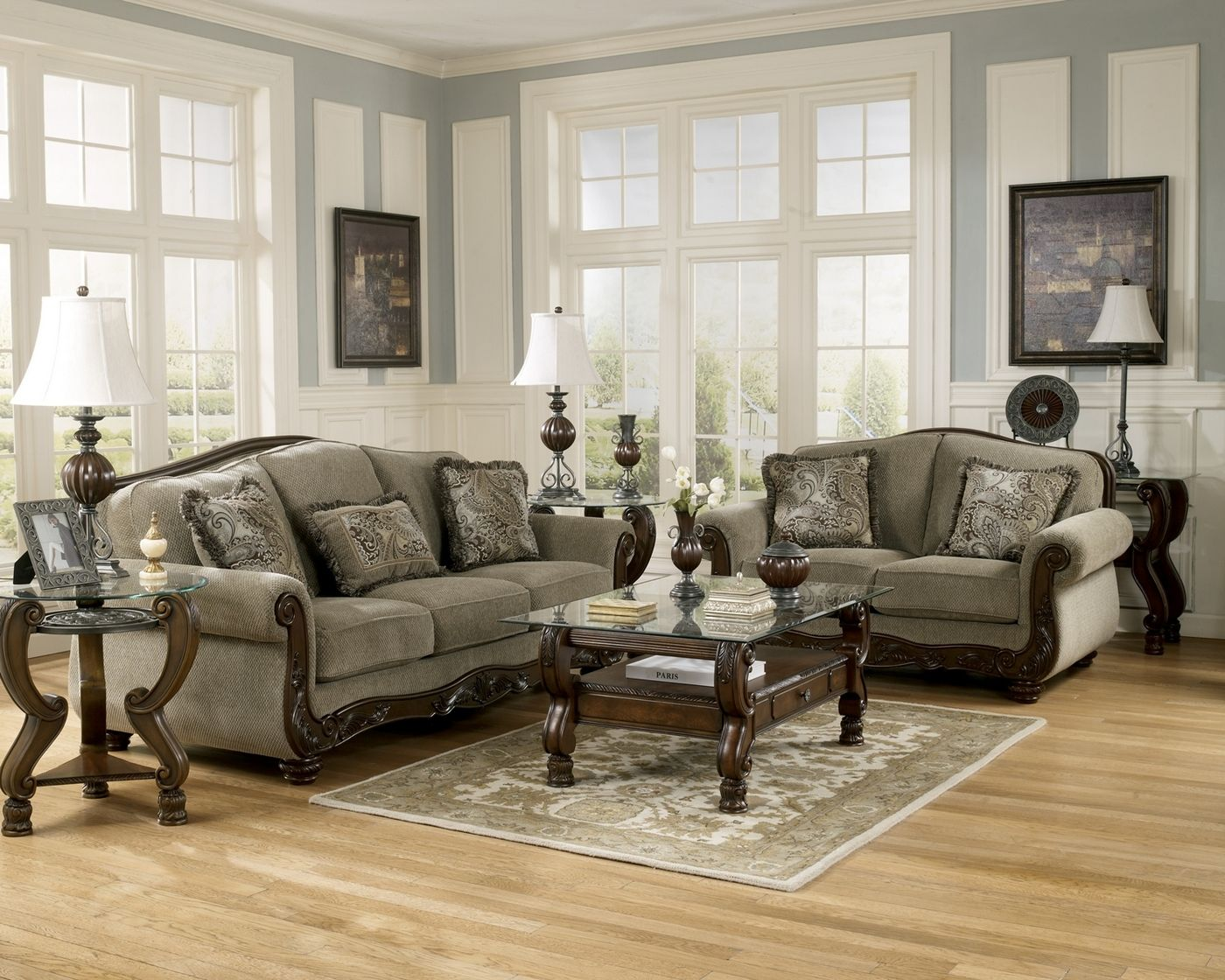 Martinsburg Meadow Wood Trim Chenille Living Room Sofa Set Ashley Furniture Living Room