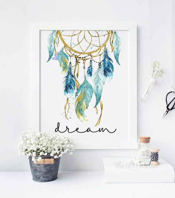 Captivating Blue Dreamcatcher, Dream Printable, Tribal Wall Decor, Bohemian Wall Print,  Teen Wall Art, Wall Art Printable, Watercolor Dreamcatcher Print