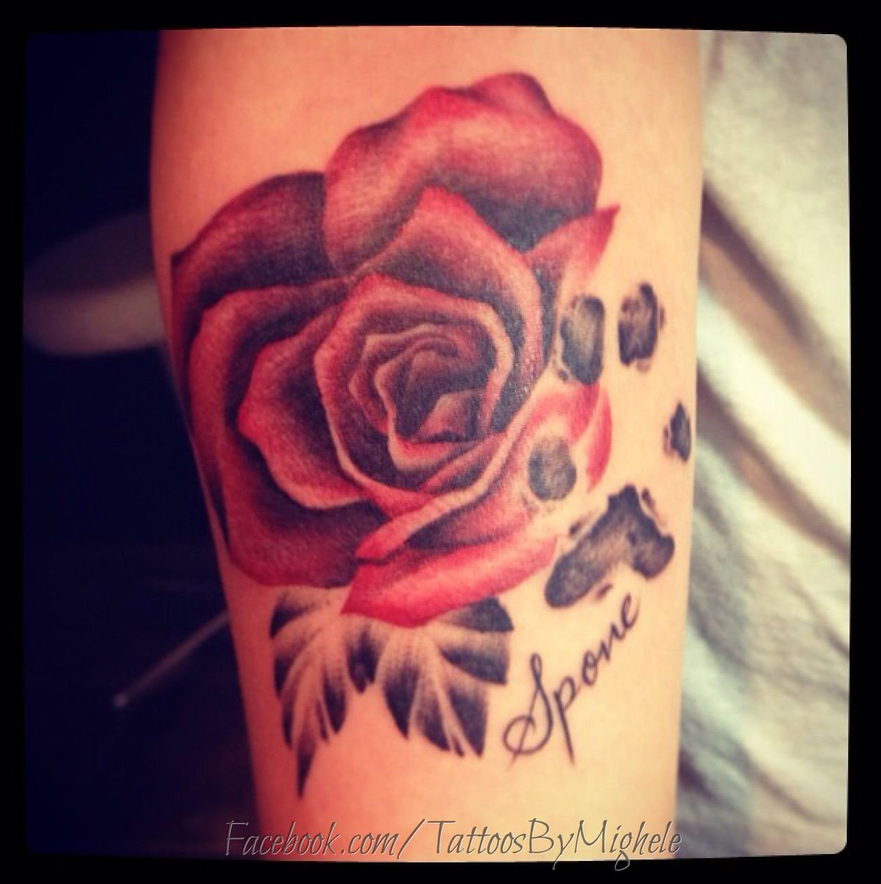 Dog Paw Print Tattoo Writing: Rose And Paw Print Tattoo.