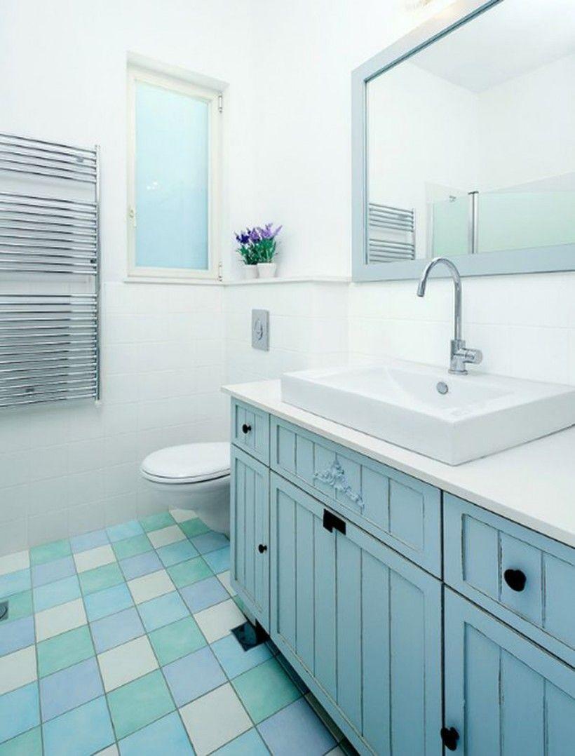 Bathroom : Remodeling Bathroom Colorful Floor Tiles Blue Vanity ...