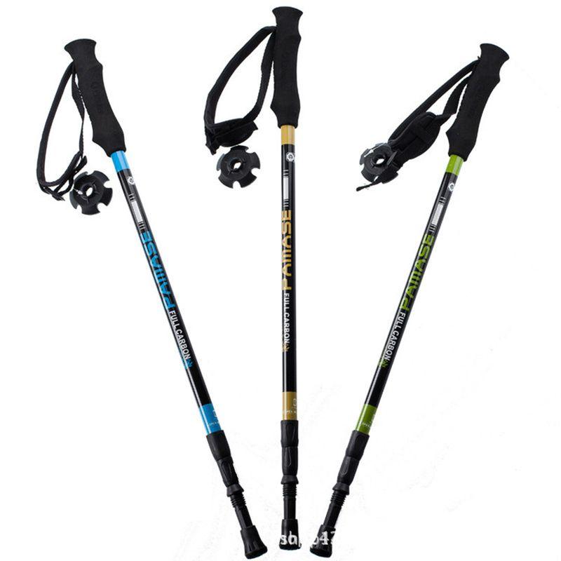 Brand New Carben Fiber Ultralight Adjustable Telescopic 3 Sections Alpenstock Climbing Hiking Walking Nordic Walking Poles Nordic Walking Sticks Nordic Walking