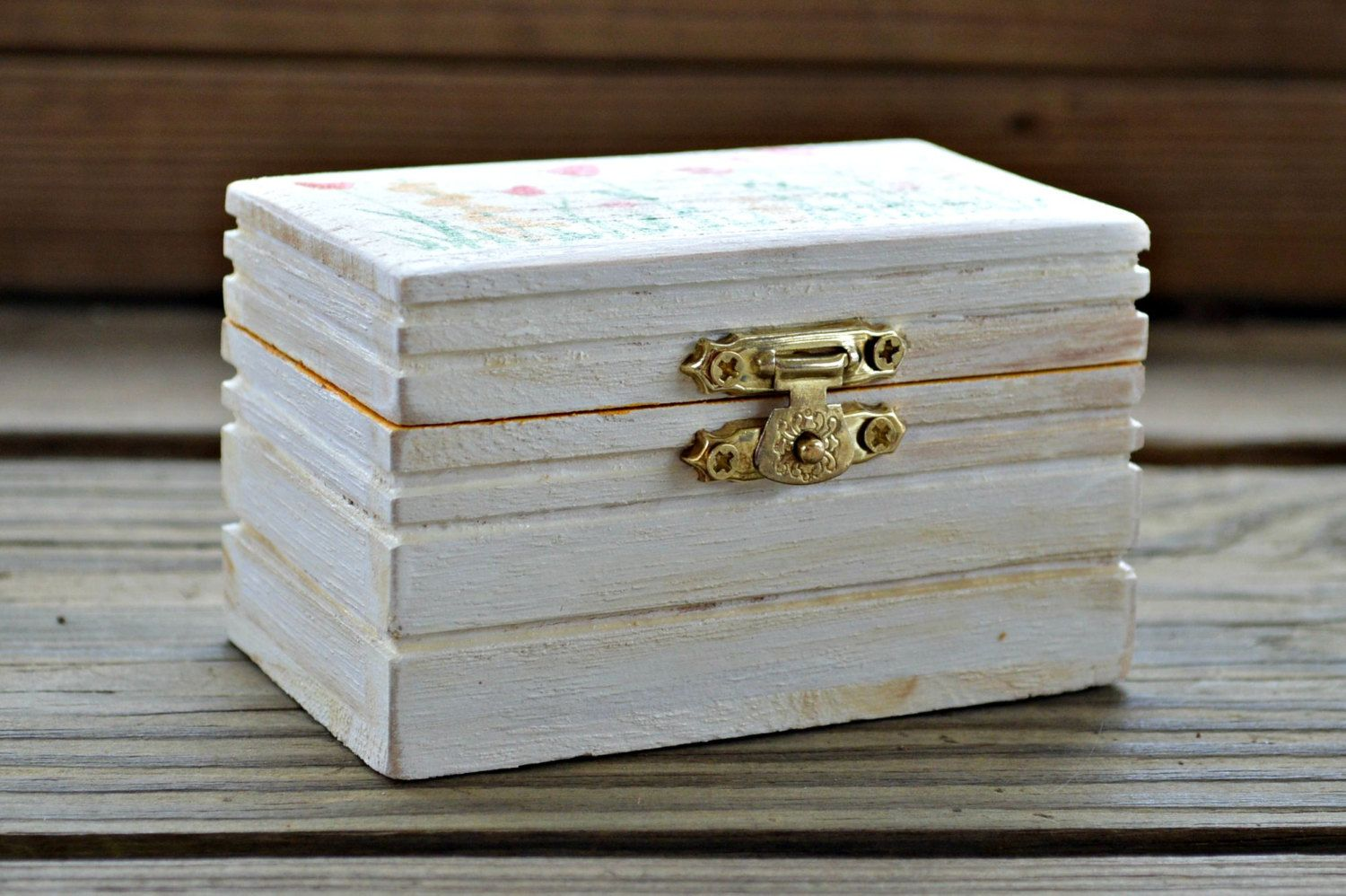 Decorative wooden box with hinged lid small gift box small