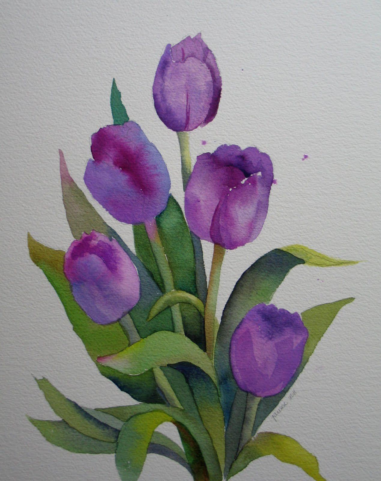 Easy watercolor paintings purple tulips watercolor